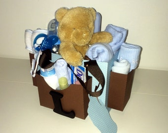 Blue & Brown Diaper Bag Gift Bag for a Baby Boy