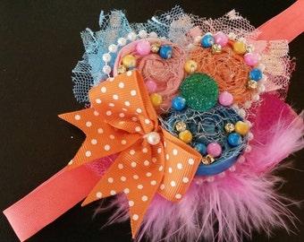 Headband, Photo Prop, Stretch headband ~ orange, aqua, green, blue, purple