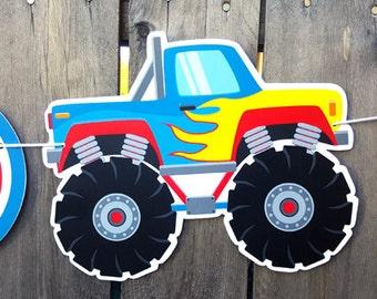 Monster Truck Banner, Monster Truck Birthday Banner - Monster Truck Party Banner - Monster Truck Sign