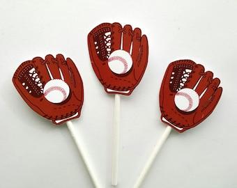Baseball Cupcake Toppers, Baseball Glove Cupcake Toppers, Baseball Mitt Cupcake Toppers