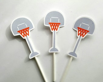 Basketball Cupcake Toppers, Basketball Hoop Cupcake Toppers