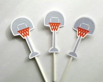 Basketball Cupcake Toppers, Basketball Hoop Cupcake Toppers