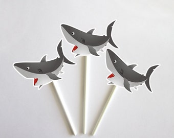 Shark Cupcake Toppers - Fish Cupcake Toppers - Under The Sea Cupcake Toppers