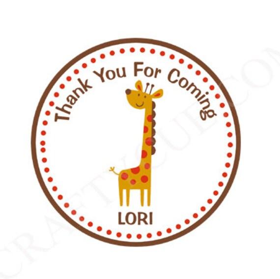 Giraffe Goody Bag Tags Favor