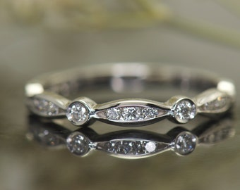 Marquise and Dot Wedding Band in White Gold, Channel and Bezel Set Stones, over 1/2 Eternity, Stackable, Alisha M
