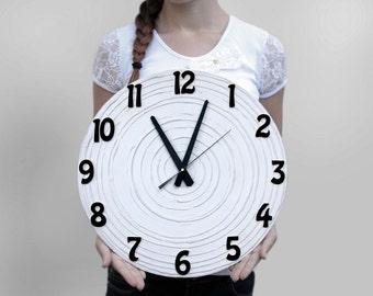 LARGE  WALL CLOCK, Wedding Gift, White Wall clock, Modern Wall Clock, Unique Wall Clock,