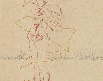 """Male Figure Modern Art 12""""x16"""" Archival Inkjet Print on Epson Velvet Fine Art Paper"""