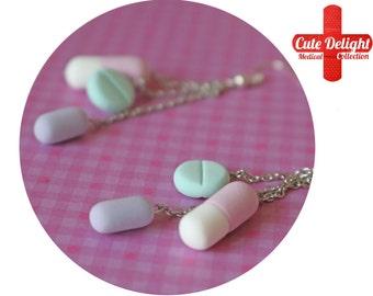 Light Turquoise, Pink & Purple Pills Earrings, Pill Earrings, Custom pills earrings, green pills accessories, cute pills earrings, pills