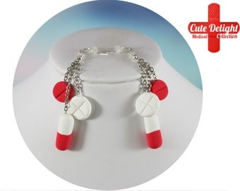 White and Red Pills Earrings, Pill Earrings, Custom pills earrings, green pills accessories,cute pills earrings,pills jewelry,pills earrings
