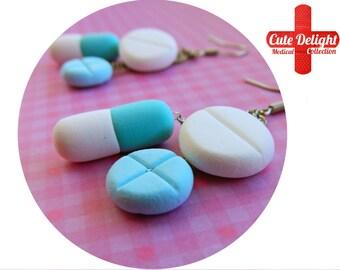 Blue Pills Earrings, Pill Earrings, Custom pills earrings, green pills accessories, cute pills earrings, pills jewelry, pill jewelry, pills