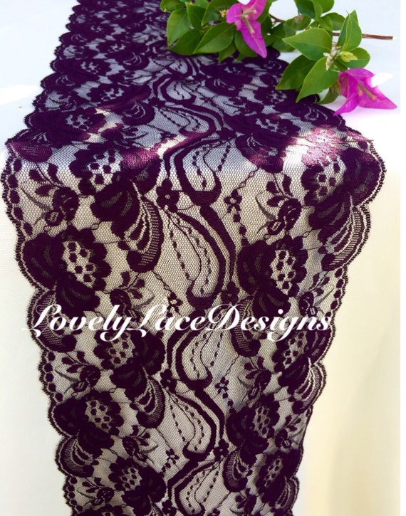 Plum lace table runner 7 wide x12ft 20ft long wedding for 12 ft table runner