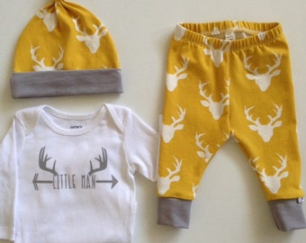 NEW! Newborn Outfit-Oh Deers-Infant Leggings and Top Knot Hat-Mustard/Grey
