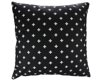 Black and White Swiss Cross Decorative Throw Pillow Cover Mini Swiss Cross Zippered Pillow Couch Pillow Throw Pillow Cushion Cover