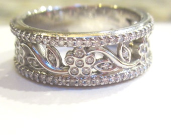 Diamond Anniversary Band| Floral Pattern| Gold or Platinum| 7mm Wide Band| Gift for Her