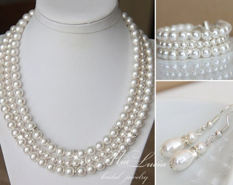 FREE SHIPPING Bridal Jewelry Set, Swarovski Pearl Bridal Jewelry Set, Necklace Earrings, Bridal Necklace Set, Pearl Bridal set, e08-b10-n04