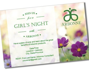 INSTANT DOWNLOAD Printable Arbonne Party Invitation * Customizable * Reusable * Flowers