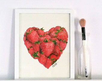 "Love you Berry Much 8""x10"" Strawberry Heart Watercolor Print"