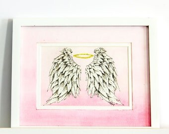 Angel Wings Framed Original Watercolor 5×7 Painting, Feathers, Halo, Nursery Art Print