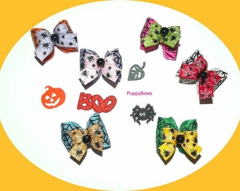 Puppy Bows ~Halloween SPIDER WEBS  dog bow pair pet hair clip barrette or bands