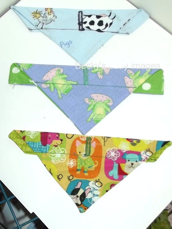 Puppy Bows~3 over the collar dog pet bandana frogs puppies extra small ~US Seller