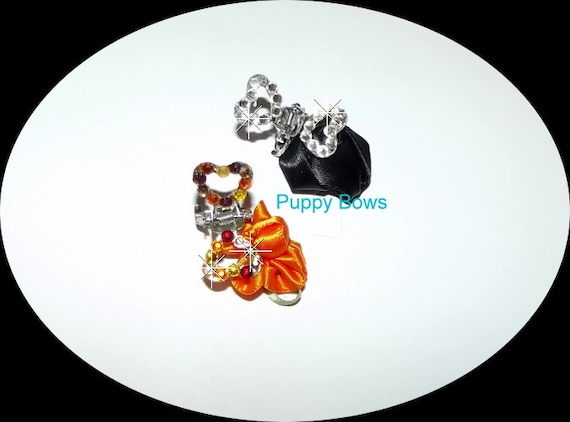 Puppy Bows ~WEE SUPER TINY little rhinestone heart  dog bow  pet hair jaw clip barrette