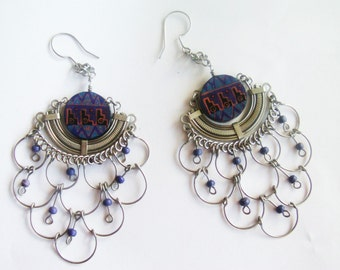 Large Sterling Earrings / Chandelier Earrings / Statement Earring / Unique Jewelry / Pieced Silver Earrings / Sterling / Free Ship