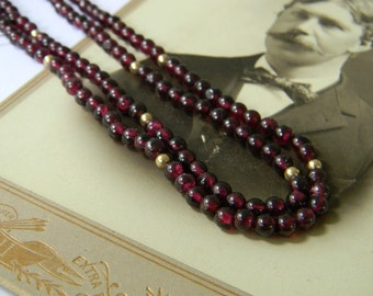 Antique Bohemian Garnet & 14K Gold Necklace, 28 Inch Long - Victorian Garnet Necklace - Antique Jewelry, Long Flapper, 14K Solid Gold Beads
