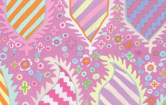 STRIPED HERALDIC PINK  gp153 Kaffe Fassett Sold in 1/2 yd increments