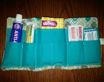 First aid travel kit or pouch.  Emergency kit first aid medicine bag or pouch.