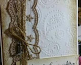 Antiqued Lacy Wedding Card