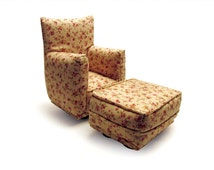 Barbie Doll Living Room Chair & Ottoman-Beige with tiny Rosebud Flower Print-1:6 Scale- works with any Blythe and 11 inch fashion doll