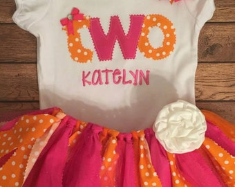 Pink and Orange Birthday Tutu Outift With Name Embroidery