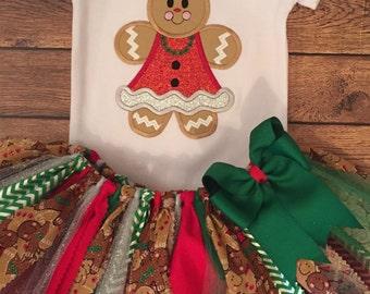 Girly Gingerbread Scrap Fabric Tutu Outfit