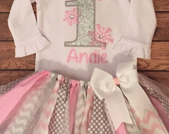 Silver and Pink Winter One-derland Snowflake Scrap Fabric Tutu Outfit