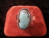 Vintage Southwestern Style Sterling Silver and Turquoise Ring - Size 8.5
