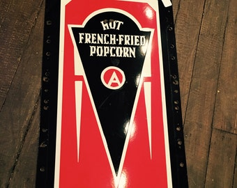 Vintage 1930s Art Deco World's Fair Advance Manufacturing Hot French Fried Popcorn Cart Side Porcelain Sign