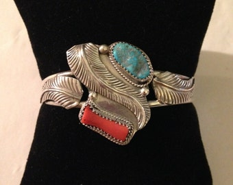 Vintage Old Pawn Southwestern Style Sterling Silver, Turquoise, and Coral Signed Cuff Bracelet