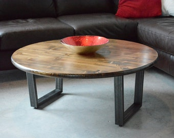 "36"" round coffee table with steel legs"