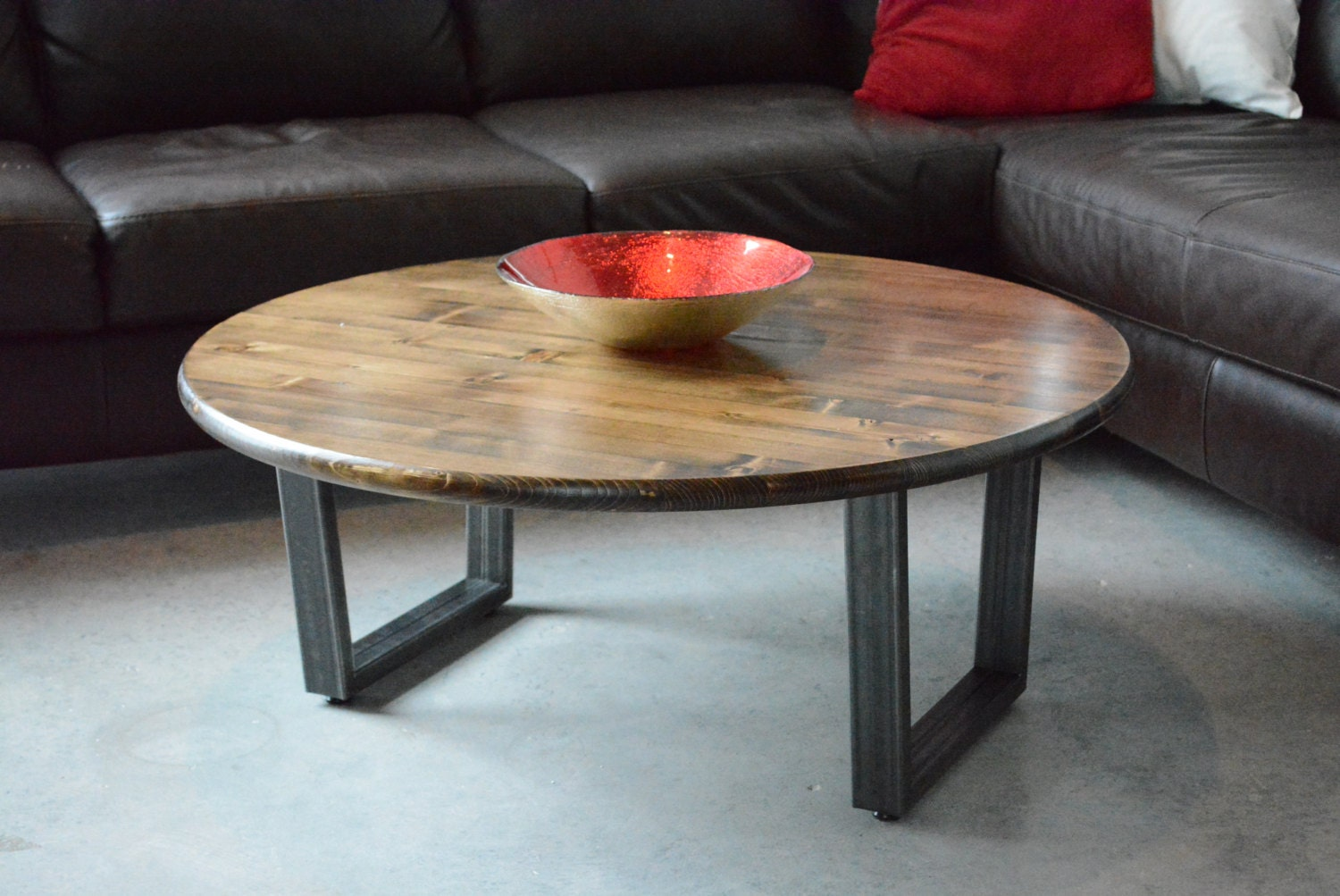 36 Round Coffee Table With Steel Legs By Groveandanchor On Etsy