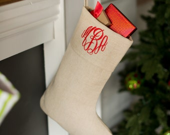 Christmas Stocking, Personalized, Customized, Natural Juco with Name or Monogram