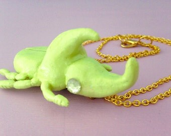Green Beetle Necklace | Polymer Clay Rhino Beetle Necklace | Pastel Beetle Pendant | Gold Necklace Chain
