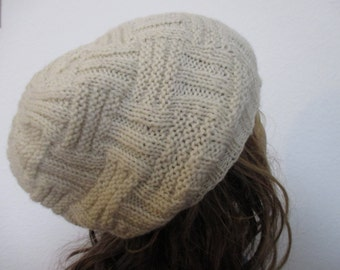 hand knit wool white beanie hat, slouchy  #195
