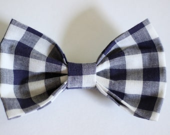 Navy Gingham Clip- on Bow Tie