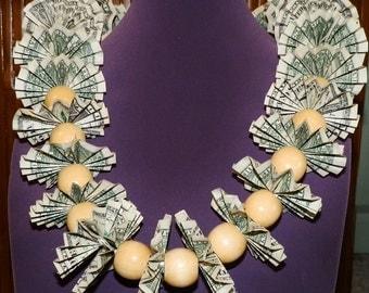 lei with folded dollar bills lei for graduation, wedding, birthdays, retirement leis from hawaii money lei