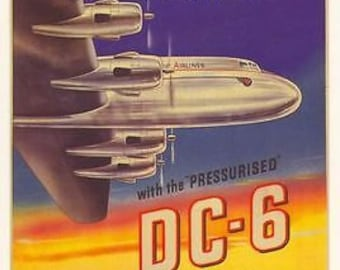 1950's British Commonwealth Pacific Airlines DC-6 Poster A3 Print