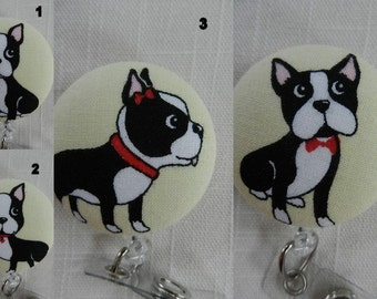 Boston Terrier Dog Retractable ID, Name badge Holder Reels