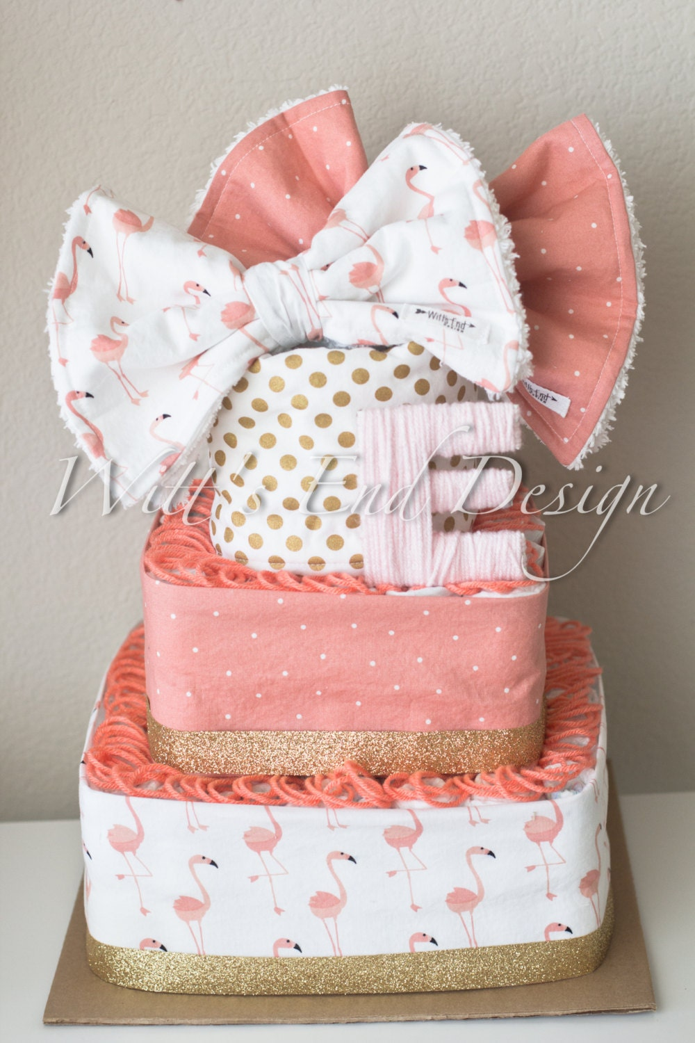 NEW Flamingo Baby Girl 3-tier Square Diaper Cake Or Shower