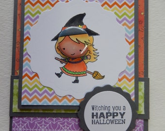 Tin Button Witch Halloween Card
