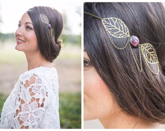 "Headband ""Arabesque"", chains and pearl plum and metal sheetings , purple"