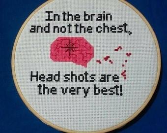 Zombie Head Shot Cross Stitch
